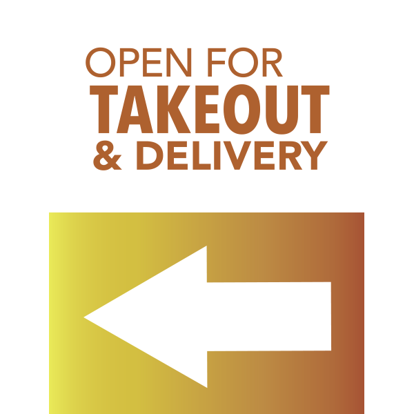 18x24 Open For Takeout and Delivery Arrow Left